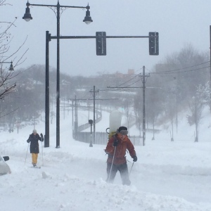 Comm Ave skiing